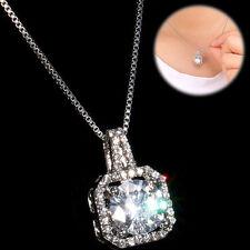 Ablaze Cubic Zirconia CZ Crystal Rhinestone Charm Womens Round Pendant Necklace