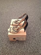 LADIES 'TEDBAKER' BLACK/GOLD SANDALS.SIZE UK 4/EU 37. BOXED. GOOD CONDITION.