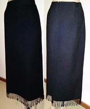 WITCHERY Size 12 Black 80% Wool Fringed Corporate Skirt