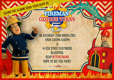 Personalised Birthday Invitations Fireman Sam / fire engine x 8 with photo
