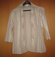 Damen-Bluse Gr. 36 braun-beige-weiß gestreift 3/4 langer Arm