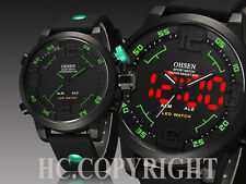 Creative LED Dual Time Zone Military Style Diving Sports Watch Men's Wrist Watch