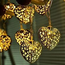 20x Metal Moroccan Heart 240v LED Fairy String Lights Warm White Garden Lighting