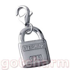 Sterling Silver Unusual Padlock Clip on Charm