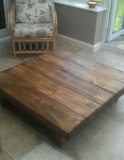 HANDMADE LARGE CHUNKY RUSTIC NATURAL WOOD SOLID  COFFEE TABLE SQUARE