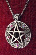 Celtic Star Pentagram Pagan Swarovsk Crystal Wiccan Pewter Pendant Necklace