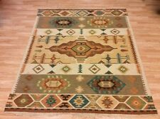 Kilim Rug Indian Authentic Tribal Handwoven Wool Flatweave XL 156x243cm 60%OFF