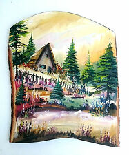 Painting of a cottage in the forest, Wooden Wall Hanging handmade home deco