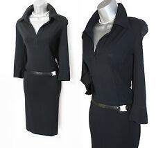Karen Millen Black Thick Jersey Long Sleeve Belt Decorated Collar Midi Dress 14