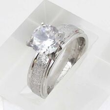 Crystal White Gold Plated Band Ring Size 10 For Bridal Engagement Party Women