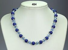 "Lapis lazuli blue stone bead necklace, blue-lilac crystals, silver spacers 19""+2"