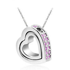 New Purple Rhinestones Silver Plated Love Double Heart Charm Pendant Necklace