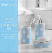 Spotted Bathroom Accessory Set Soap Dish Dispenser Tumbler Toothbrush Holder New