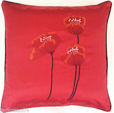 "GRACEFUL POPPY RED BLACK  FAUX SILK FLORAL POPPY 22"" EMBROIDERED CUSHION COVER"