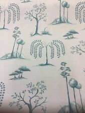 SANDERSON CURTAIN FABRIC  WILLOW TREE   Aqua/Ivory By The Metre