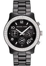 NEW MICHAEL KORS MK5190 BLACK CERAMIC RUNWAY WATCH - 2 YEAR WARRANTY