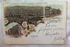 AK  Stuttgart gegen Westen mit Hasenberg Post Bahnhof Litho gel. 1902