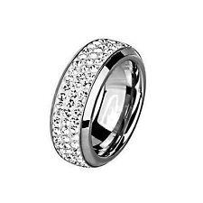 Damen Edelstahl Ring Kristall Fingerring Cocktail Silber Band Solitär Strass