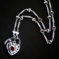 New 9K White Gold Filled Ruby Crystal Filigree Heart Love Pendant Necklace