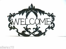 FRENCH STYLE ANTIQUE BLACK WELCOME WALL DECOR ART SIGN  NEW
