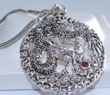 VINTAGE STYLE! Genuine African Ruby & Marcasite Dragon Pendant S/Silver 925!