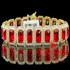 """Mens Yellow Gold Finish Sterling Silver Royal Lab Diamond Red Ruby Bracelet 7.5"""""""