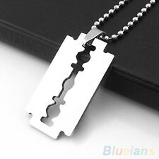 Unisex Stainless Steel Razor Blade Pendant Dogtag Necklace Brand New
