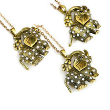 Long chain elephant necklace pendant crystal sparkly statement jewellery