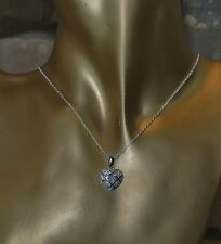 Sterling Silver Necklace With Sparkling Cubic Zirconia Encrusted Heart Pendant