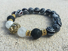Men's Beaded Bracelet, Gold Plated Lion Head, Black Eye Dot Glass Bead Bracelet