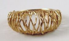 100% Genuine Vintage 9ct Solid Yellow Gold Dome Mesh Bridge Style Ring Sz US 6.5