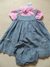 BNWT Girls Ralph Lauren Chambray Pinafore & Pink White Check Blouse Age 2 years