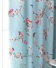 Vintage Shabby Chic Duck Egg Blue Birds Thermal Lined Pencil Pleat Curtains NEW