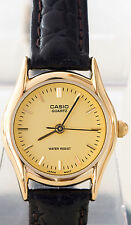 Casio LTP-1094Q-9A Classic Ladies Analog Watch Gold Tone Leather Band New
