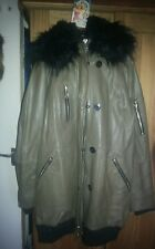 River Island black faux fur collar green parka coat real leather size 14