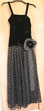Long Black Velvet and Mesh Evening Dress - High St Brand - Small 6/34