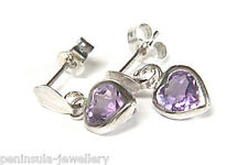 9ct White Gold Amethyst Heart Drop Earrings Made in UK Gift Boxed