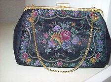 Abend Handtasche Gobelin Stickerei Blumen Abend Tasche 60er TRUE VINTAGE 60´s