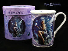"""Anne Stokes Bone China Mug Cup: """"Stargazer"""" Fairy with Crystals and Orb"""