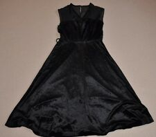 Vintage Black Velvet Dress, Sleeveless, A Line, V Neck, Size 14