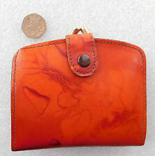 Ladies leather coin purse Orange tan colour vintage womens British 1960s 1970s