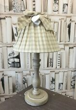 NEW Shabby Chic Vintage Country Cream & Beige Gingham Table Lamp with Bow