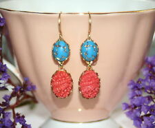 Vintage Japan Coral pressed carved floral veined gold turquoise glass earrings