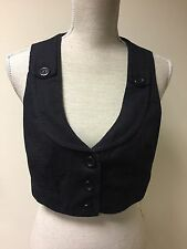 New Look Women Waistcoat Black Cotton Blend Cropped Size 12 (35)