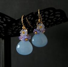 Pale Blue Jade Violet Swarovski Flower Earrings