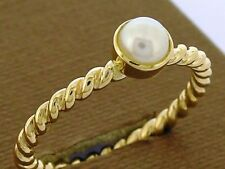 R253- Genuine 9K Solid Yellow Gold NATURAL Pearl Rope Stackable Ring size N