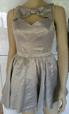 RIVER ISLAND Gold Metallic Cut Out Front & Back with Bow Sleeveless Dress 8