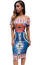 NEW Tribal African Print Off Shoulder Fitted Bodycon Midi Dress Size 8 10 12 14