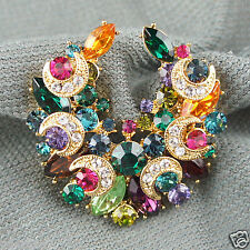 14k Gold GF Swarovski crystals colourful brooch pin