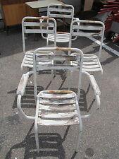4x weißer Stahllrohr Gartenstuhl stapelbar Bistro Stuhl Stühle Stapelstühle